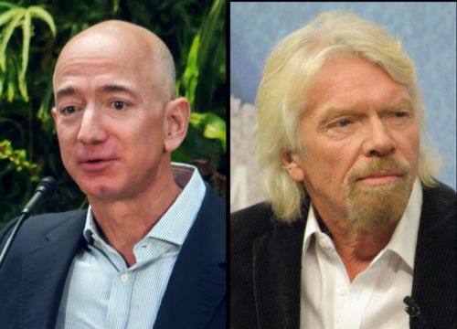 Jeff Bezos in 2018 and Richard Branson in 2015.