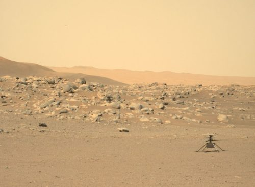 NASA's Mars helicopter Ingenuity is seen on the ground in a picture taken by NASA's Perseverance rover on June 15, 2021.