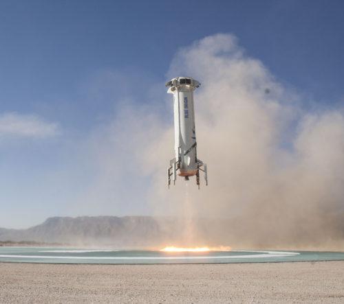 New Shepard rocket landing in 2017.