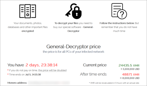 Ransomware deployed by hacker group REvil in July 2021. The hackers are requesting payment in the form of the cryptocurrency monero (XMR).