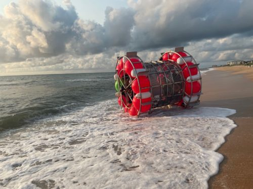 "Reza Baluchi's ""hydro pod"" on a beach in Florida."