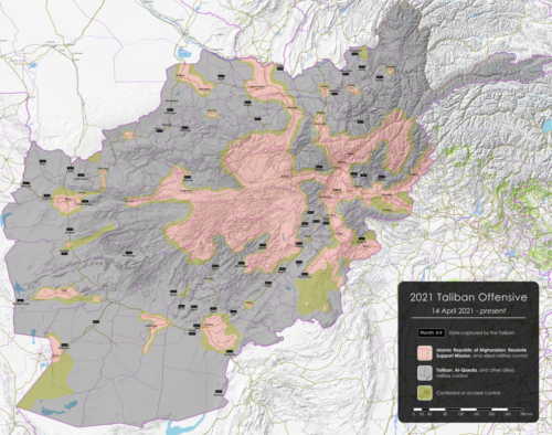 Map of the 2021 Taliban-led offensive in Afghanistan after the announcement of the United States' withdrawal. All credit goes to Islamic World News' work