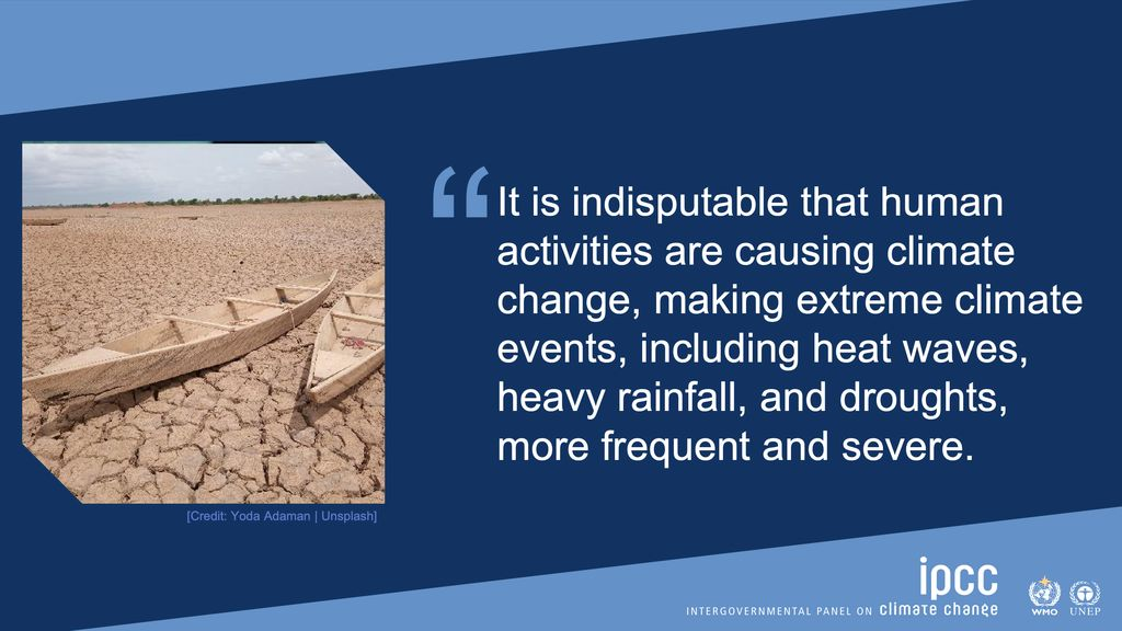 Graphic with boats on dry lakebed with quote attributing climate change to human activities.