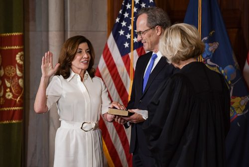 Kathy Hochul is ceremonially sworn in as 57th Governor of the State of New York.