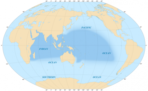Map showing the area covered by the Indo-Pacific biogeographic region.