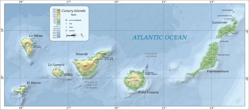 Map of the Canary Islands.