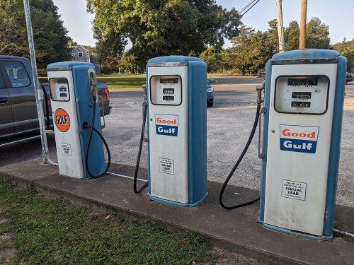 Springs, NY General Store NRHP site - vintage gas pumps