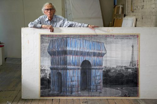 """Christo in his studio with a preparatory drawing for """"L'Arc de Triomphe, Wrapped"""", New York City, September 20, 2019"""