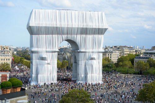 Aerial shot of L'Arc de Triomphe, Wrapped, Paris, 1961-2021