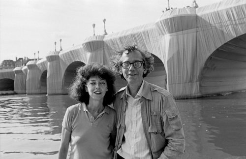 Christo and Jeanne-Claude at The Pont Neuf Wrapped in 1985.