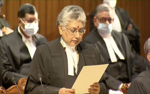 B.V. Nagarathna as she is being sworn in as a justice of the Supreme court of India