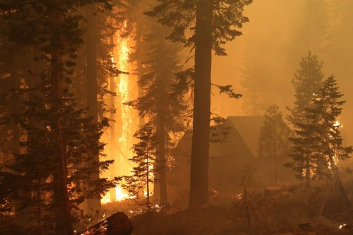 A building in the woods near the roaring flames of the Caldor Fire on August 29, 2021.