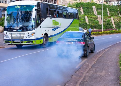 Black smoke emissions from a vehicle's exhaust are a key contributing factor to air pollution and climate change in Kamonyi District road, Rwanda