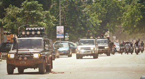 Military parade in the streets of Conakry after the 2021 coup in Guinea.