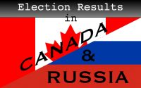 Graphic hybrid that's half flag of Canada and half flag of Russia, with the words 'Election Results in Canada & Russia'.