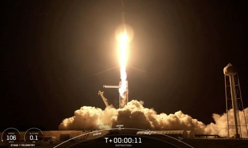 The launch of the Falcon9 rocket carrying the Inspiration4 mission into space.