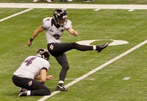 Baltimore Ravens kicker Justin Tucker kicks a field goal attempt in Super Bowl XLVII. February 3, 2013