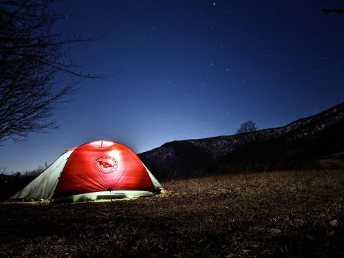 A tent in the darkness