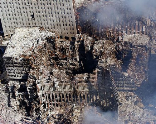 Ground Zero, New York City, N.Y. (Sept. 17, 2001) -- An aerial view shows only a small portion of the crime scene where the World Trade Center collapsed following the Sept. 11 terrorist attack.