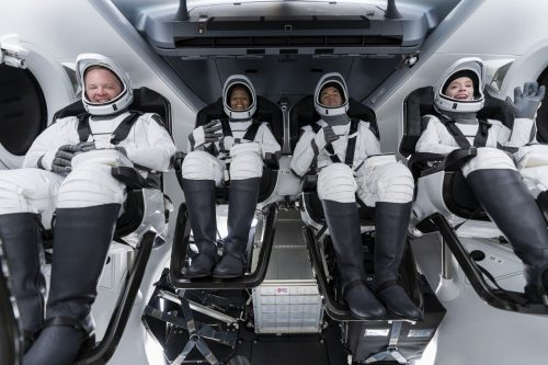 Inspiration4 crew members in the Dragon Capsule for a dry run.