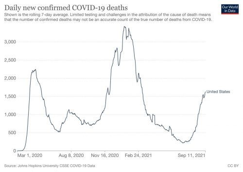 This chart shows the number of confirmed COVID-19 deaths in the US per day over time.