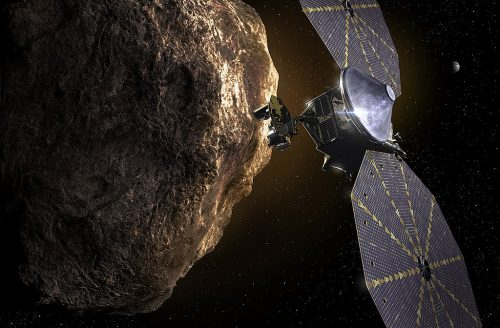 An artist's concept of the Lucy Mission.