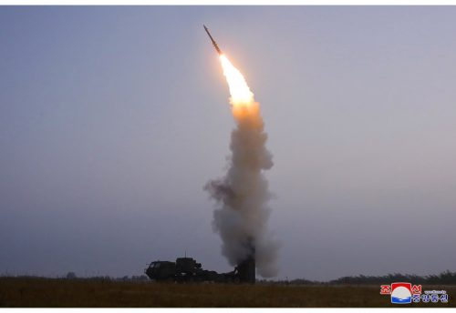 An anti-aircraft missile launched by North Korea, September, 2021.