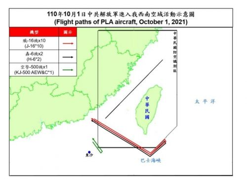 Map showing the flight paths of Chinese warplanes flying in Taiwan's air defense identification zone.
