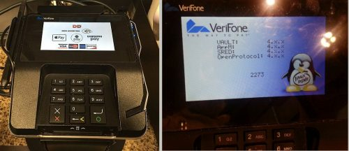 """Left: Credit card swipe device from Dunkin' Donuts, Right: Similar device showing a Linux boot screen with the """"Linux Inside"""" logo."""
