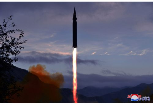 A hypersonic missile launched by North Korea, September, 2021.