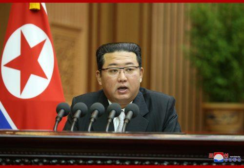 Kim Jong-un speaking to North Korea's Parliament.