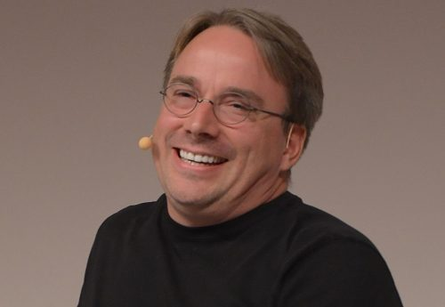 Linus Torvalds speaking at the LinuxCon Europe 2014 in Düsseldorf.