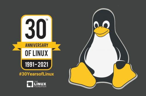 Linux 30th Anniversary banner & Tux, the Linux mascot.