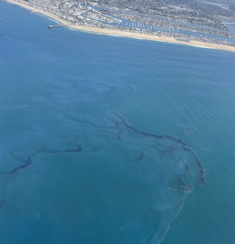 Aerial view of the oil spill off the coast of Orange county, California on October 3, 2021.