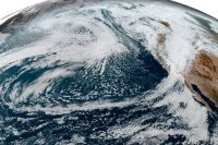 This simulated natural-color image, acquired on October 25 by NOAA's Geostationary Operational Environmental Satellite 17 (GOES-17) shows an arc of clouds stretching across the Pacific—a visible manifestation of the atmospheric river pouring moisture into the Pacific Northwest.